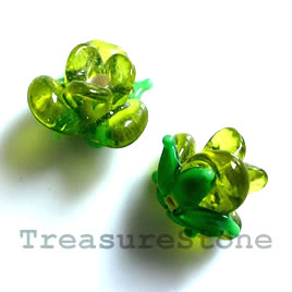 Bead, lampworked glass, 10x12mm flower, green rose. Pkg of 5.
