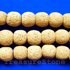 Bead, yellow Lava (dyed), about 15mm. 15pcs.