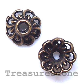 Bead cap, antiqued bronze finished, 9x4mm. Pkg of 22.