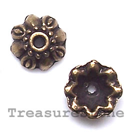 Bead cap, antiqued brass finished, 9x3mm. Pkg of 20.