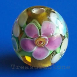 Bead, lampworked glass, 12 mm round. Pkg of 6.