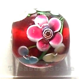 Bead, lampworked glass, red, 11mm round. Pkg of 8.