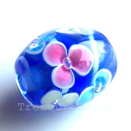 Bead, lampworked glass, blue, 12x14 mm drum. Pkg of 5.