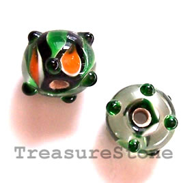 Bead, lampworked glass, 11x8mm bumpy rondelle. Pkg of 8.