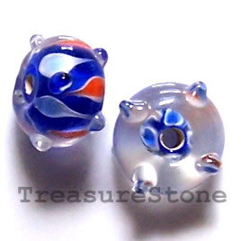 Bead, lampworked glass, blue, 13x8mm bumpy rondelle. Pkg of 6.