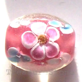 Bead, lampworked glass, pink, 8x15mm oval. Pkg of 6.
