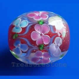 Bead, lampworked glass, 21x23mm oval. Sold individually.