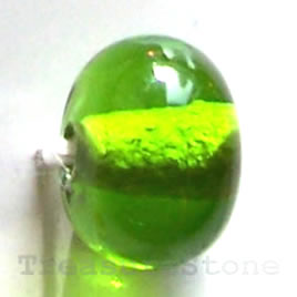 Bead, lampworked glass, green, 11x8mm rondelle. Pkg of 12.