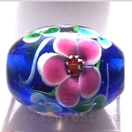 Bead, lampworked glass, blue, 17x24mm oval. Sold individually.