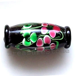 Bead, lampworked glass, black, 10x24mm. Pkg of 3.