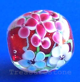 Bead, lampworked glass, 20x19mm. Sold individually.