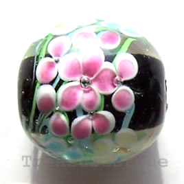 Bead, lampworked glass, 20mm round. Sold individually.