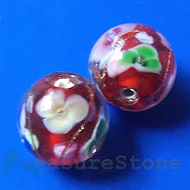 Bead, lampworked glass, red, 12mm round. Pkg of 8.