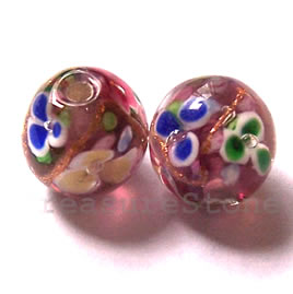 Bead, lampworked glass, purple, 12mm round. Pkg of 8.
