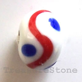 Bead, lampworked glass, white, 13x9mm rondelle. Pkg of 6.