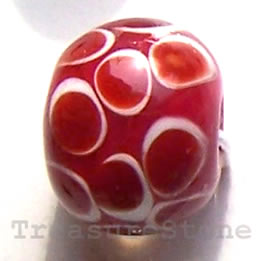 Bead, lampworked glass, red, 14x8mm rondelle. Pkg of 5.