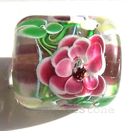 Bead, lampworked glass, 17x19mm round tube. Sold individually.