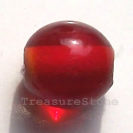 Bead, lampworked glass, red, 9mm round. Pkg of 15.
