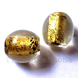 Bead, lampworked glass, gold foil, 12mm round. Pkg of 8.