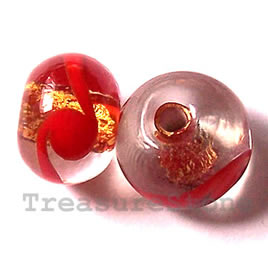 Bead, lampworked glass, red,gold foil, 13x9mm rondelle. Pkg of 8