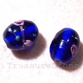 Bead, lampworked glass, blue, 15x19mm drum. Pkg of 4.