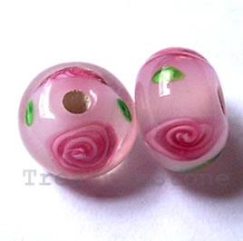 Bead, lampworked glass, pink, 12x7.5mm rondelle. Pkg of 6.