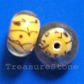 Bead, lampworked glass, yellow, 13x8mm rondelle. Pkg of 6.
