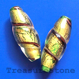 Bead, lampworked glass, gold, 11x30mm oval. Pkg of 3.