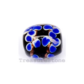 Bead, lampworked glass, black, 14x15mm drum. Pkg of 5.