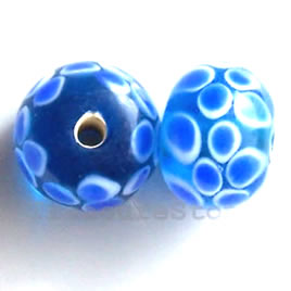 Bead, lampworked glass, blue, 14x11mm rondelle. Pkg of 6.