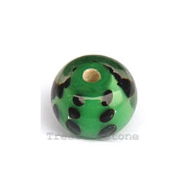 Bead, lampworked glass, green, 14x10mm rondelle. Pkg of 6.