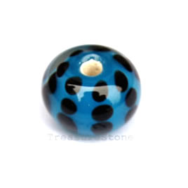 Bead, lampworked glass, blue, 14x10mm rondelle. Pkg of 8.