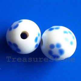 Bead, lampworked glass, white, 12mm round. Pkg of 6.