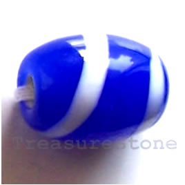 Bead, lampworked glass, blue + white, 10x12mm oval. Pkg of 6.