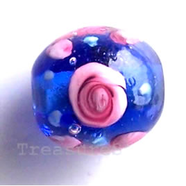 Bead, lampworked glass, blue, 11mm round. Pkg of 8.