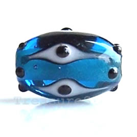 Bead, lampworked glass, blue, 9x13 mm oval. Pkg of 6.