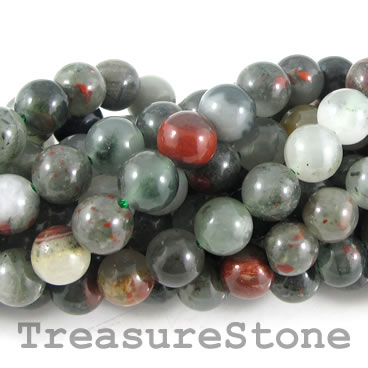 Bead, African blood stone, 8mm round. 15.5-inch strand.