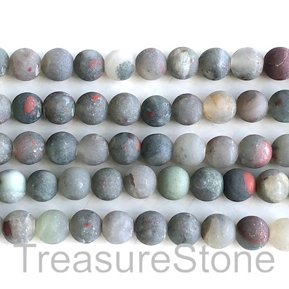 Bead, African blood stone, 8mm round, matte/frosted.15inch,49pcs