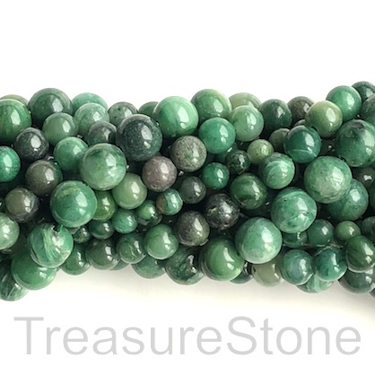 Bead, African Jade, 8mm round. 15.5-inch strand, 47pcs