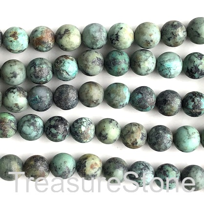 Bead, african turquoise, 10mm round, matte. 15-inch, 36pcs