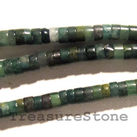 Bead, african jade, heishi, 2x4mm. Sold per 16-inch strand.