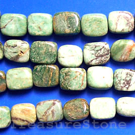 Bead, african jade flat rectangle, 8x10x5mm, 16-inch strand