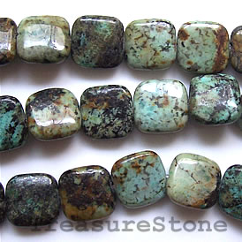 Bead, african turquoise, 13mm flat square. 16-inch strand.