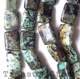 Bead, african turquoise, 12x16mm rectangle. 16-inch strand.