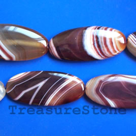 Bead, agate(dyed), flat oval, 25x55mm. 7pcs
