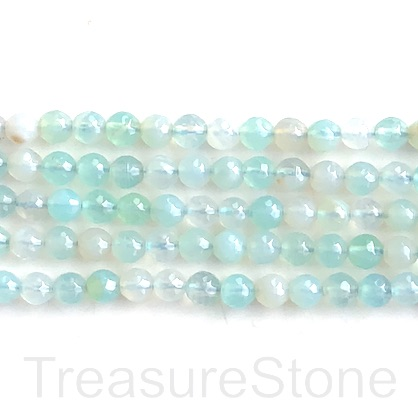 "Bead, agate (dyed), aquamarine, 6mm, faceted round. 15"", 62pcs"