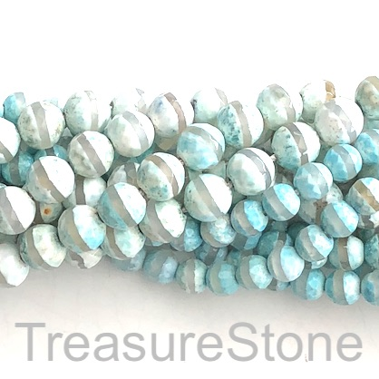"Bead, agate, turquoise, clear band, 8mm faceted round. 15"", 47"