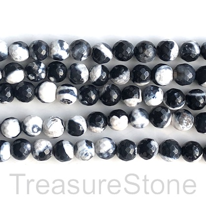 "Bead, fire agate, dyed,black,white,10mm faceted round.15"", 39p"