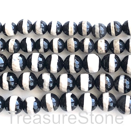 "Bead, agate, black, beige band, 10mm faceted round. 15"", 37"