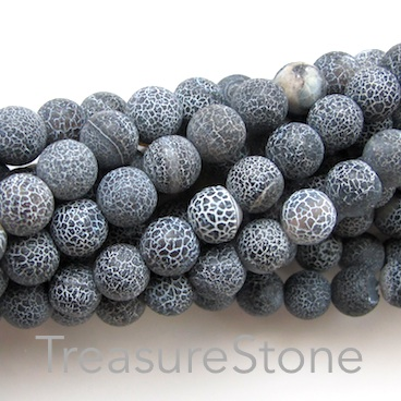 Bead, agate (dyed), black patterned, 8mm round, matt. 15-inch